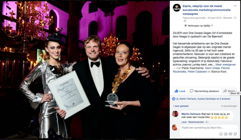 Esprix vakprijs voor meest succesvolle Marketing communicatie campagne